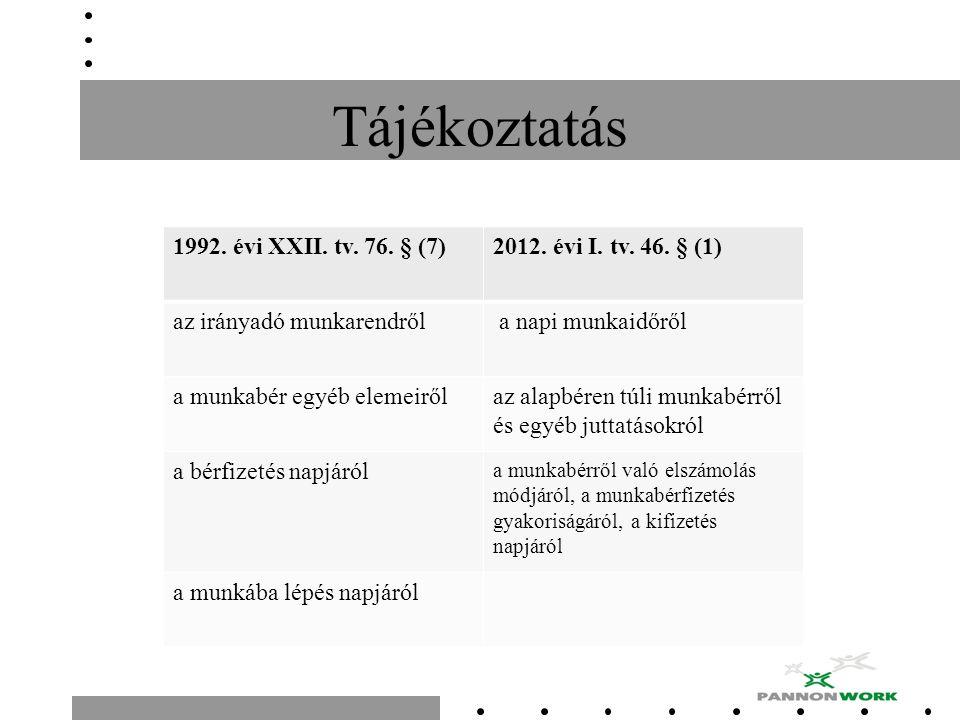 Tájékoztatás 1992. évi XXII. tv. 76. § (7)2012. évi I. tv. 46. § (1) az irányadó munkarendről a napi munkaidőről a munkabér egyéb elemeirőlaz alapbére