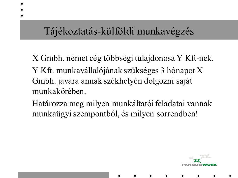 Tájékoztatás-külföldi munkavégzés X Gmbh. német cég többségi tulajdonosa Y Kft-nek. Y Kft. munkavállalójának szükséges 3 hónapot X Gmbh. javára annak