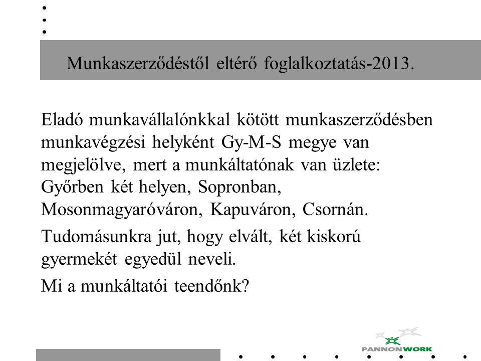 Munkaszerződéstől eltérő foglalkoztatás-2013. Eladó munkavállalónkkal kötött munkaszerződésben munkavégzési helyként Gy-M-S megye van megjelölve, mert