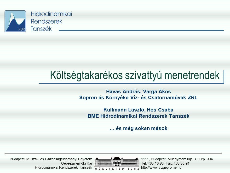 Költségtakarékos szivattyú menetrendek Fogyasztás prognózis - Bárdossy G.