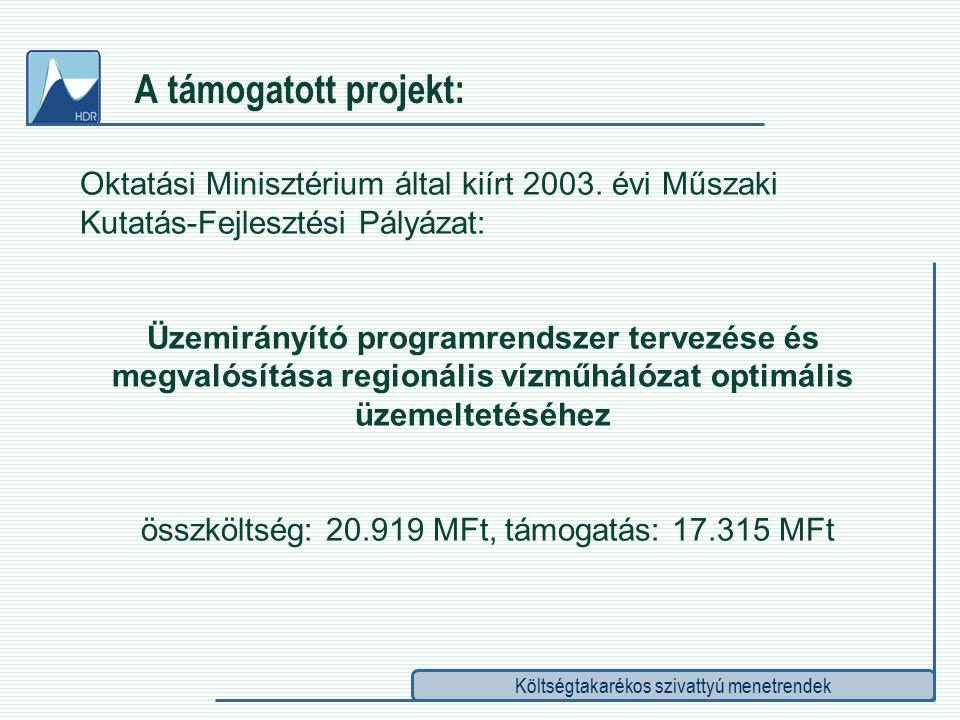Költségtakarékos szivattyú menetrendek A támogatott projekt: Oktatási Minisztérium által kiírt 2003.