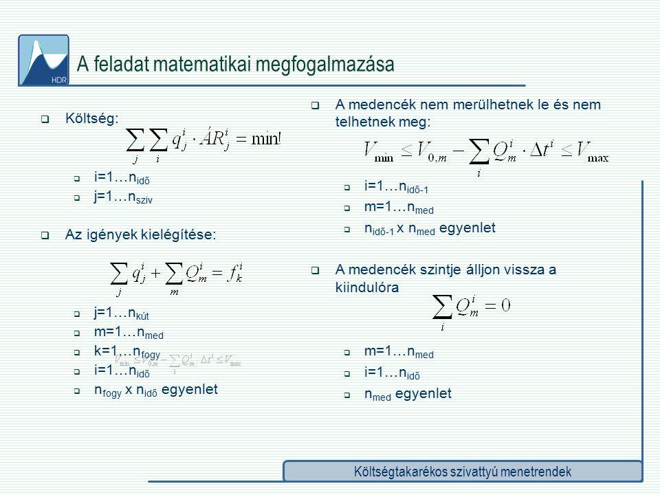 Költségtakarékos szivattyú menetrendek A feladat matematikai megfogalmazása  Költség:  i=1…n idő  j=1…n sziv  Az igények kielégítése:  j=1…n kút  m=1…n med  k=1…n fogy  i=1…n idő  n fogy x n idő egyenlet  A medencék nem merülhetnek le és nem telhetnek meg:  i=1…n idő-1  m=1…n med  n idő-1 x n med egyenlet  A medencék szintje álljon vissza a kiindulóra  m=1…n med  i=1…n idő  n med egyenlet