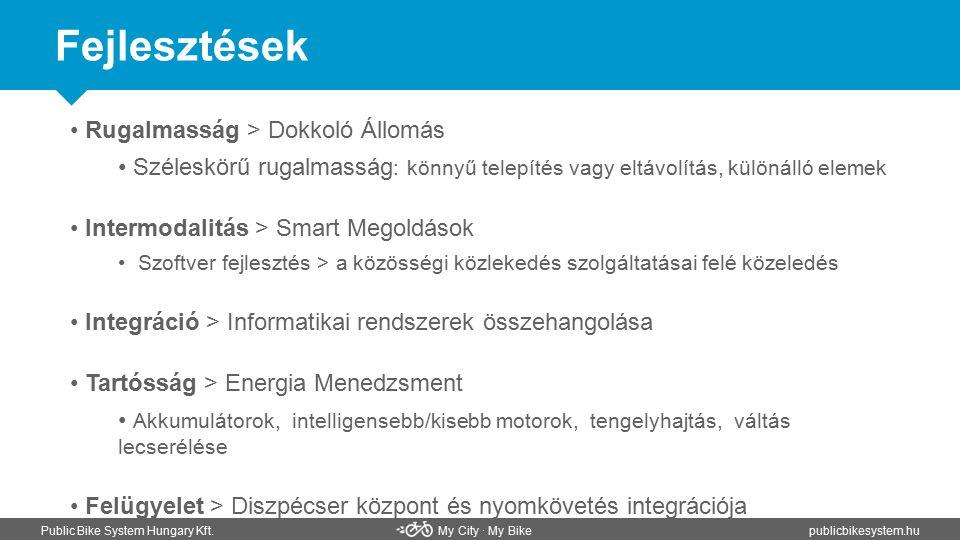 Fejlesztések Public Bike System Hungary Kft. My City ∙ My Bikepublicbikesystem.hu Rugalmasság > Dokkoló Állomás Széleskörű rugalmasság : könnyű telepí