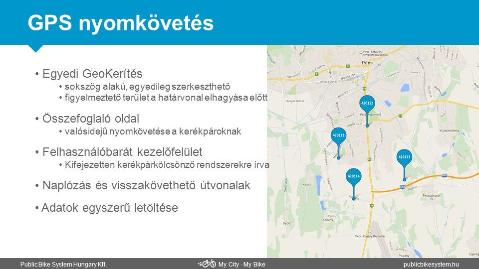 GPS nyomkövetés Public Bike System Hungary Kft. My City ∙ My Bikepublicbikesystem.hu Egyedi GeoKerítés sokszög alakú, egyedileg szerkeszthető figyelme