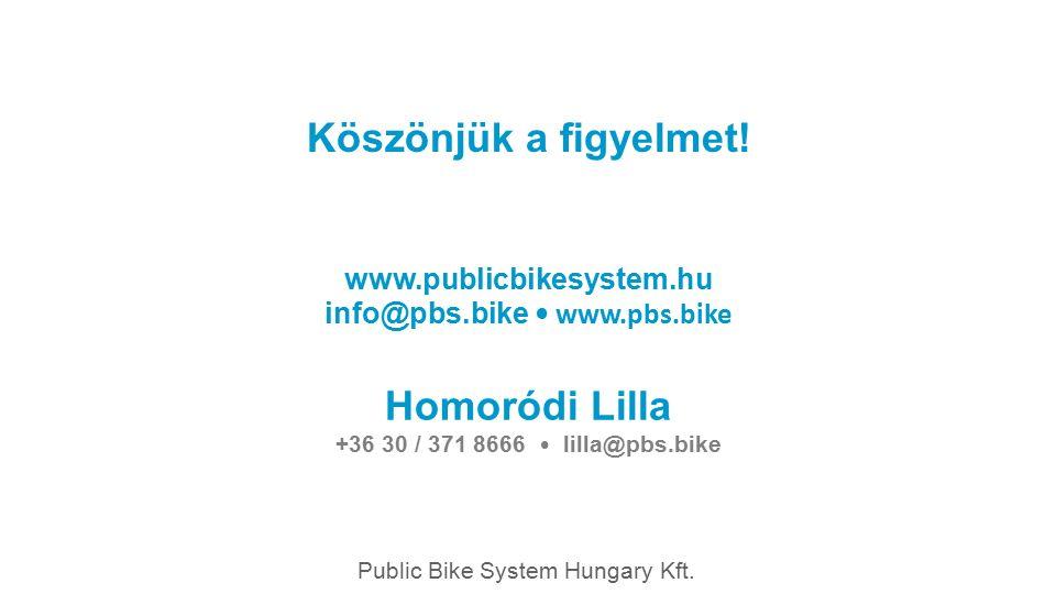Köszönjük a figyelmet! Public Bike System Hungary Kft. www.publicbikesystem.hu info@pbs.bike www.pbs.bike Homoródi Lilla +36 30 / 371 8666 lilla@pbs.b