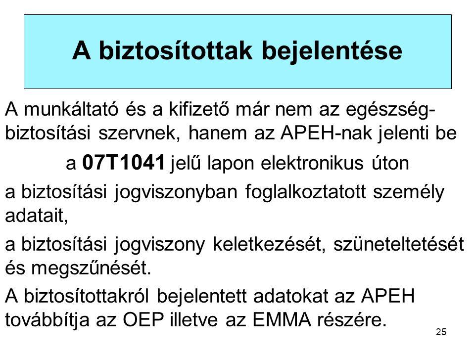 25 A biztosítottak bejelentése A munkáltató és a kifizető már nem az egészség- biztosítási szervnek, hanem az APEH-nak jelenti be a 07T1041 jelű lapon