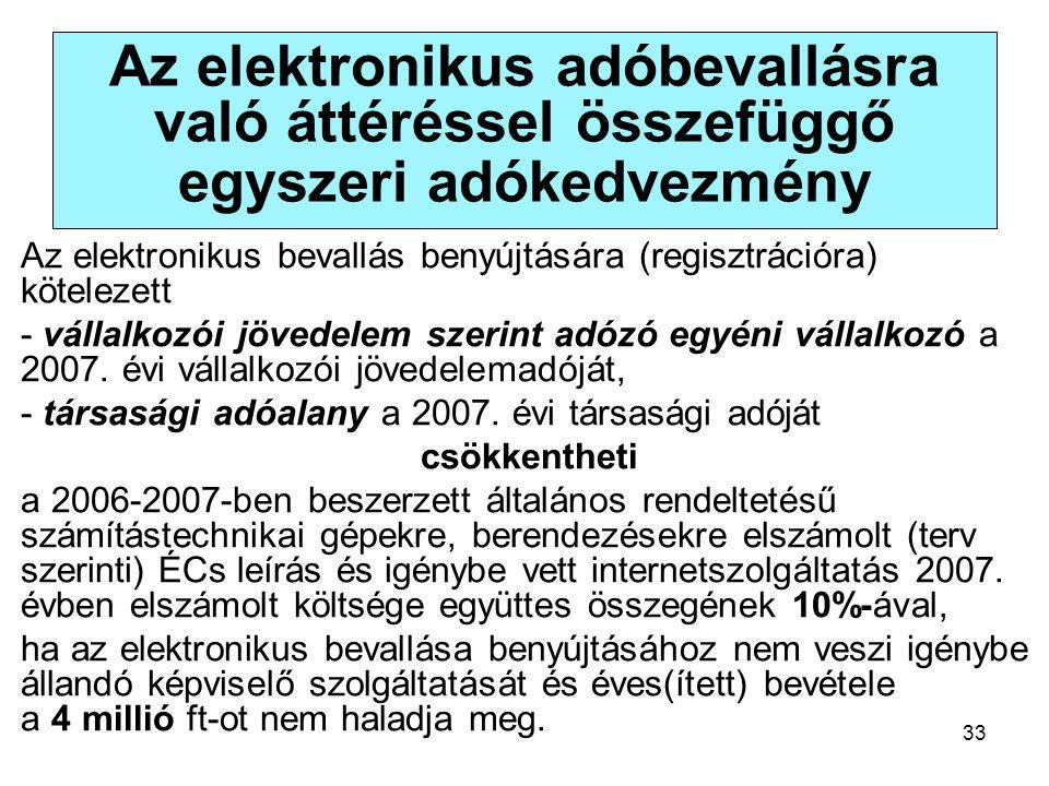 33 Az elektronikus adóbevallásra való áttéréssel összefüggő egyszeri adókedvezmény Az elektronikus bevallás benyújtására (regisztrációra) kötelezett - vállalkozói jövedelem szerint adózó egyéni vállalkozó a 2007.