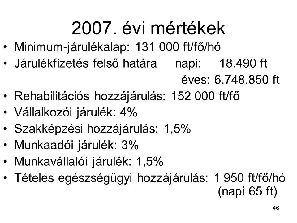 46 2007. évi mértékek Minimum-járulékalap: 131 000 ft/fő/hó Járulékfizetés felső határa napi: 18.490 ft éves: 6.748.850 ft Rehabilitációs hozzájárulás