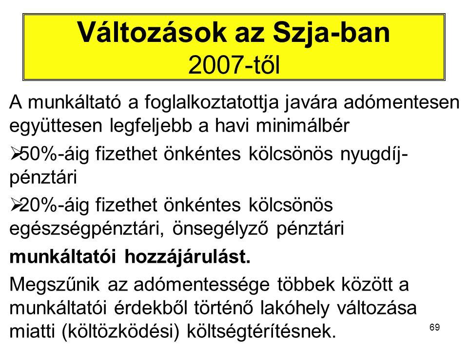 69 Változások az Szja-ban 2007-től A munkáltató a foglalkoztatottja javára adómentesen együttesen legfeljebb a havi minimálbér  50%-áig fizethet önké