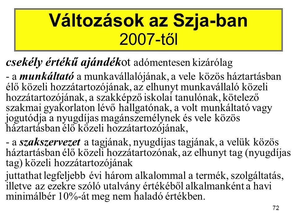 72 Változások az Szja-ban 2007-től csekély értékű ajándékot adómentesen kizárólag - a munkáltató a munkavállalójának, a vele közös háztartásban élő közeli hozzátartozójának, az elhunyt munkavállaló közeli hozzátartozójának, a szakképző iskolai tanulónak, kötelező szakmai gyakorlaton lévő hallgatónak, a volt munkáltató vagy jogutódja a nyugdíjas magánszemélynek és vele közös háztartásban élő közeli hozzátartozójának, - a szakszervezet a tagjának, nyugdíjas tagjának, a velük közös háztartásban élő közeli hozzátartozónak, az elhunyt tag (nyugdíjas tag) közeli hozzátartozójának juttathat legfeljebb évi három alkalommal a termék, szolgáltatás, illetve az ezekre szóló utalvány értékéből alkalmanként a havi minimálbér 10%-át meg nem haladó értékben.