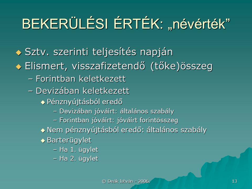 """© Deák István - 2006. 13 BEKERÜLÉSI ÉRTÉK: """"névérték  Sztv."""