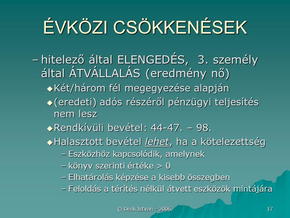 © Deák István - 2006. 17 ÉVKÖZI CSÖKKENÉSEK –hitelező által ELENGEDÉS, 3.