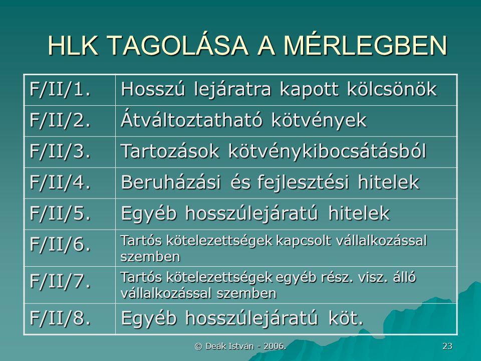 © Deák István - 2006. 23 HLK TAGOLÁSA A MÉRLEGBEN F/II/1.