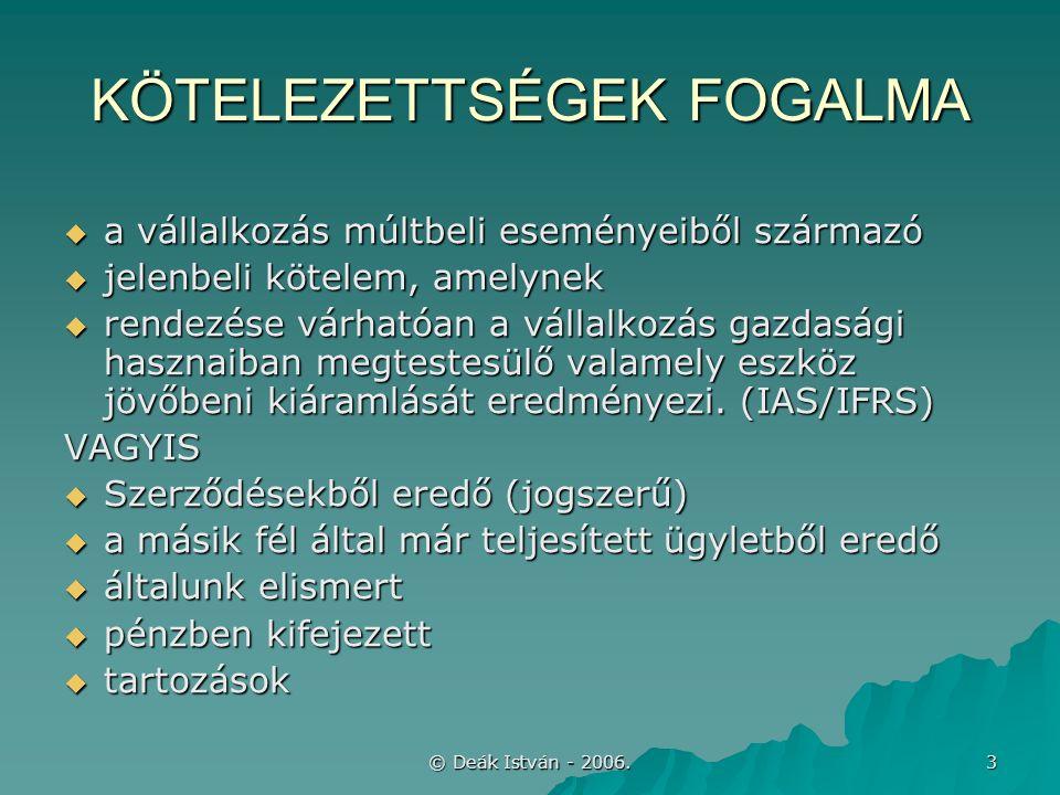 © Deák István - 2006.44 KAMATELSZÁMOLÁS  Teljes kamat a bekerülési érték része –87.