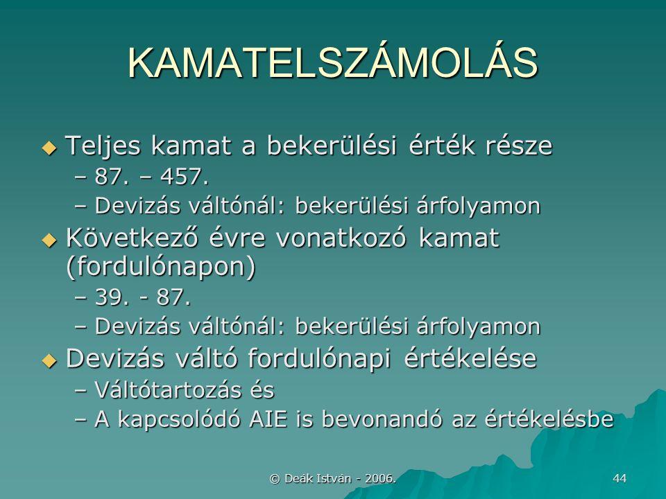 © Deák István - 2006. 44 KAMATELSZÁMOLÁS  Teljes kamat a bekerülési érték része –87.