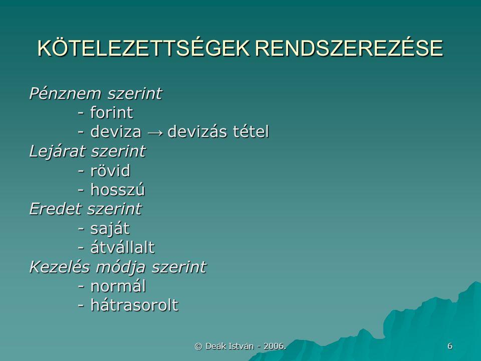 © Deák István - 2006.17 ÉVKÖZI CSÖKKENÉSEK –hitelező által ELENGEDÉS, 3.