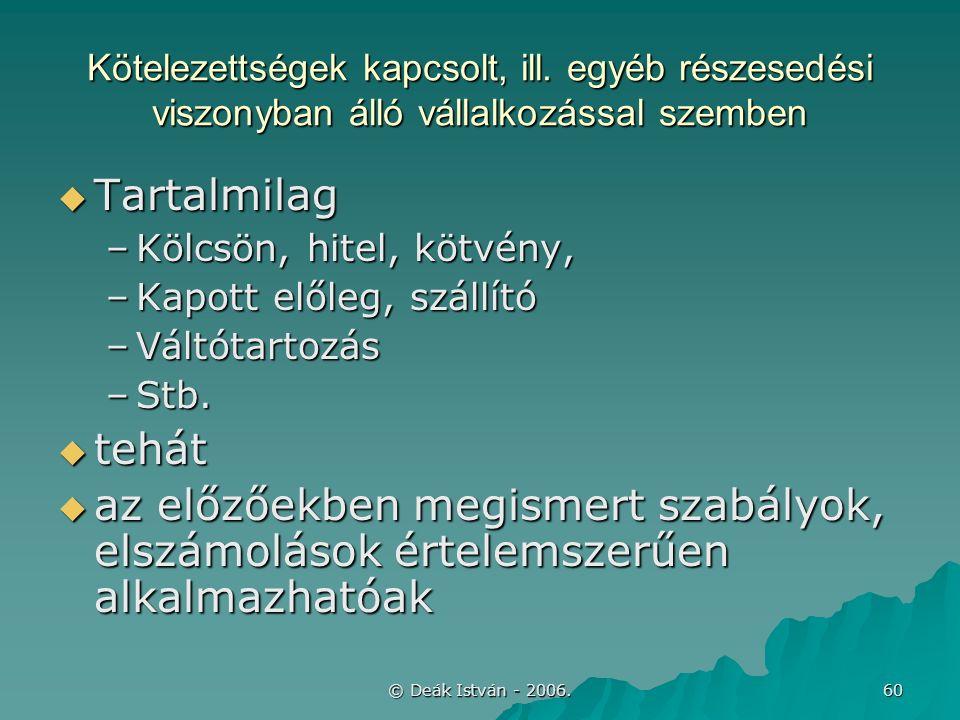 © Deák István - 2006. 60 Kötelezettségek kapcsolt, ill.