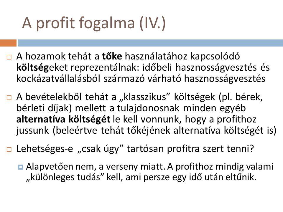 """A profit fogalma (IV.)  A hozamok tehát a tőke használatához kapcsolódó költségeket reprezentálnak: időbeli hasznosságvesztés és kockázatvállalásból származó várható hasznosságvesztés  A bevételekből tehát a """"klasszikus költségek (pl."""
