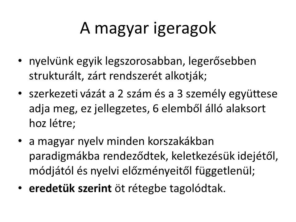A magyar igeragok nyelvünk egyik legszorosabban, legerősebben strukturált, zárt rendszerét alkotják; szerkezeti vázát a 2 szám és a 3 személy együttes