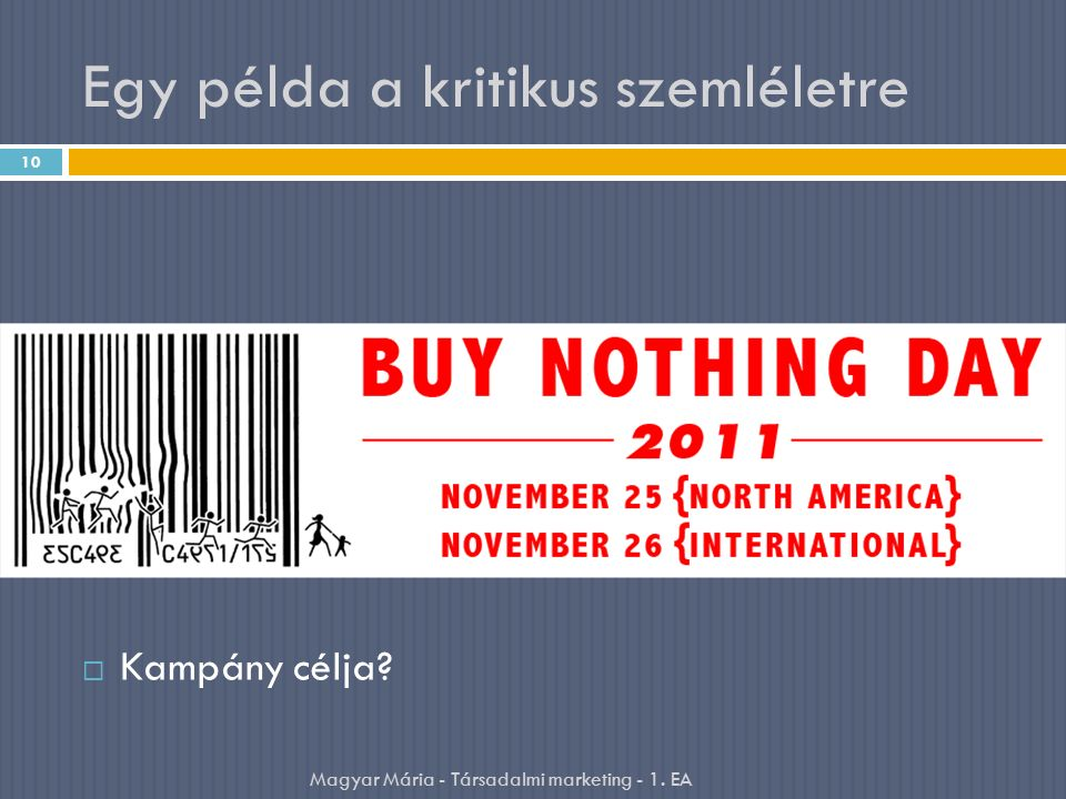 Egy példa a kritikus szemléletre  Kampány célja? 10 Magyar Mária - Társadalmi marketing - 1. EA