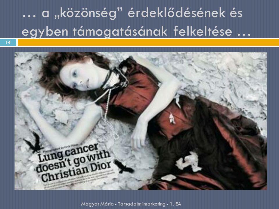 """… a """"közönség érdeklődésének és egyben támogatásának felkeltése … 14 Magyar Mária - Társadalmi marketing - 1."""