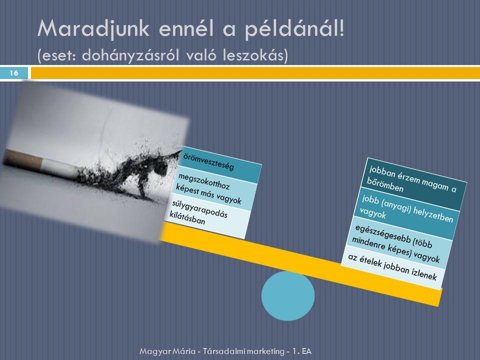Maradjunk ennél a példánál! (eset: dohányzásról való leszokás) 16 Magyar Mária - Társadalmi marketing - 1. EA