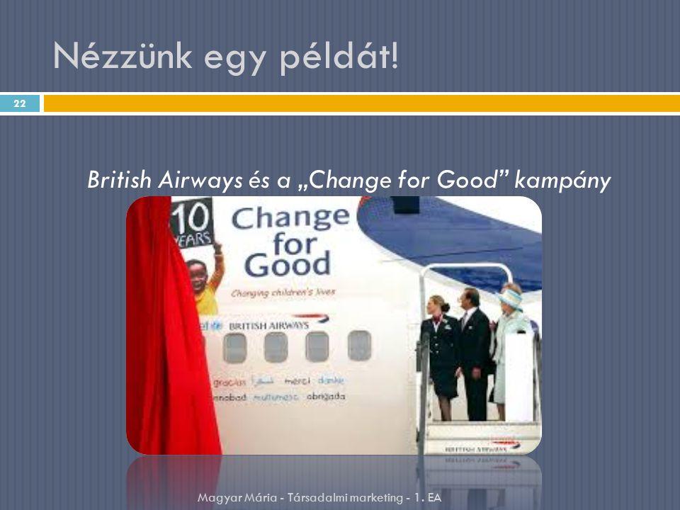 """Nézzünk egy példát! 22 British Airways és a """"Change for Good"""" kampány Magyar Mária - Társadalmi marketing - 1. EA"""
