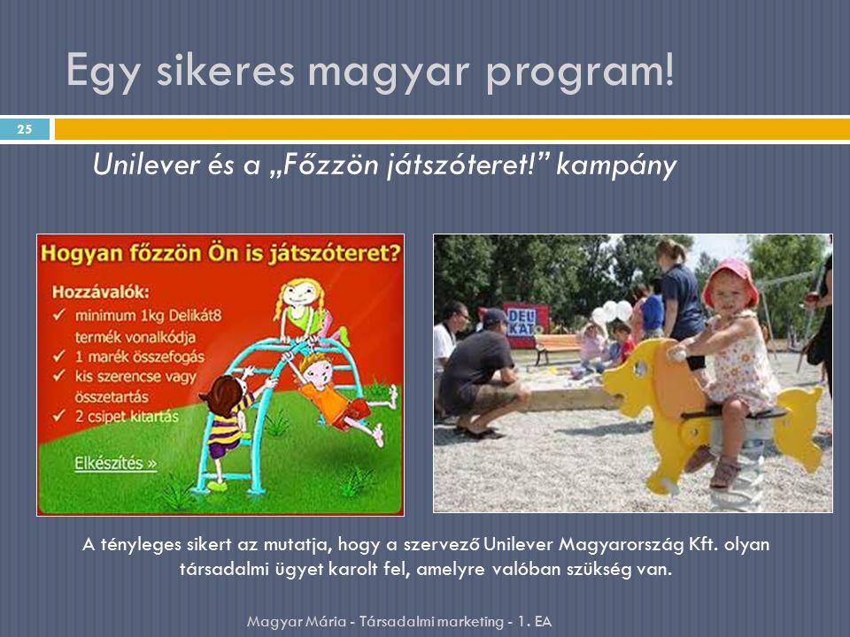 """Egy sikeres magyar program! 25 Unilever és a """"Főzzön játszóteret!"""" kampány A tényleges sikert az mutatja, hogy a szervező Unilever Magyarország Kft. o"""