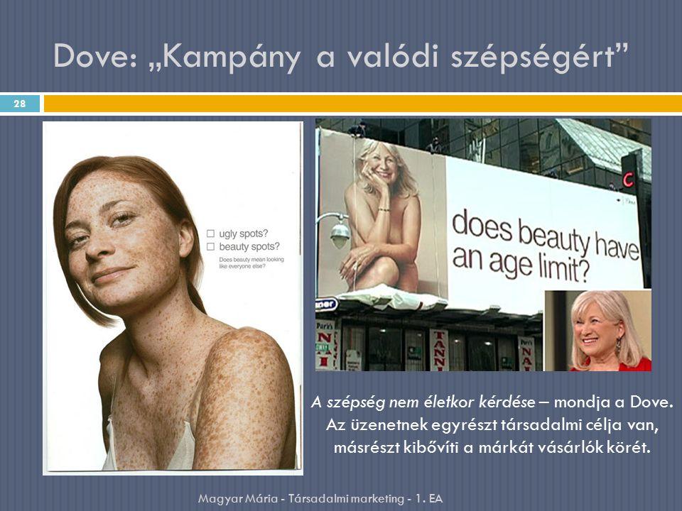 """Dove: """"Kampány a valódi szépségért"""" 28 Magyar Mária - Társadalmi marketing - 1. EA A szépség nem életkor kérdése – mondja a Dove. Az üzenetnek egyrész"""