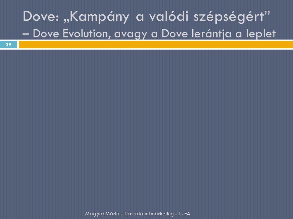 """Dove: """"Kampány a valódi szépségért"""" – Dove Evolution, avagy a Dove lerántja a leplet 29 Magyar Mária - Társadalmi marketing - 1. EA"""