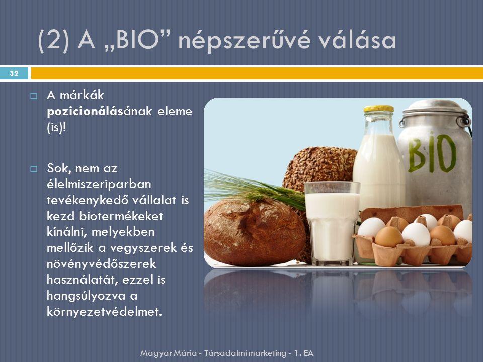 """(2) A """"BIO népszerűvé válása  A márkák pozicionálásának eleme (is)."""