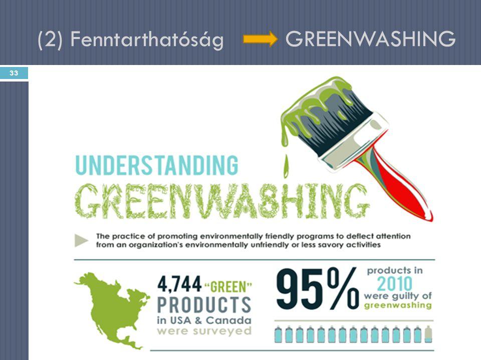 """(2) Fenntarthatóság GREENWASHING A""""zöld címkék fele csak a környezetbarát előnyökre összpontosít – közben elhallgatja a környezeti hátrányokra vonatkozó információkat    33 Magyar Mária - Társadalmi marketing - 1."""