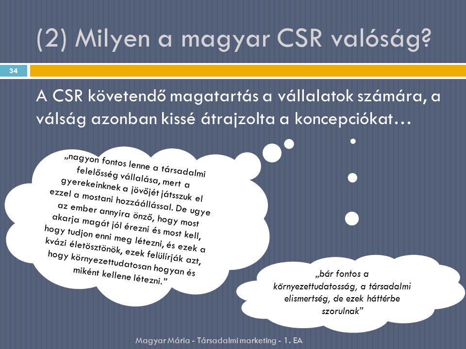 (2) Milyen a magyar CSR valóság? A CSR követendő magatartás a vállalatok számára, a válság azonban kissé átrajzolta a koncepciókat… 34 Magyar Mária -