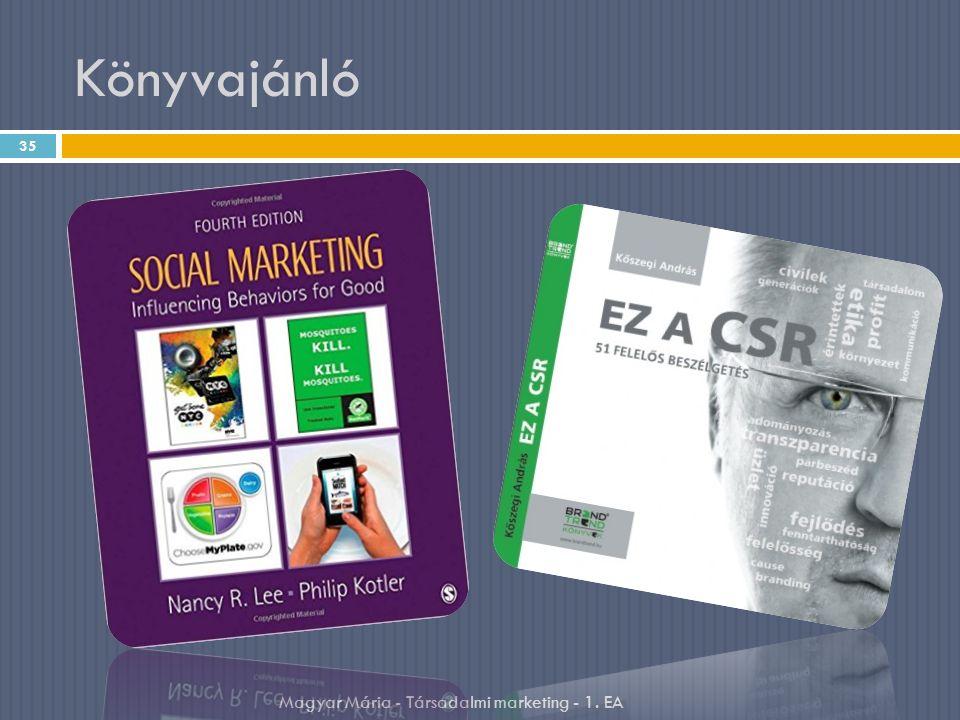 Könyvajánló 35 Magyar Mária - Társadalmi marketing - 1. EA
