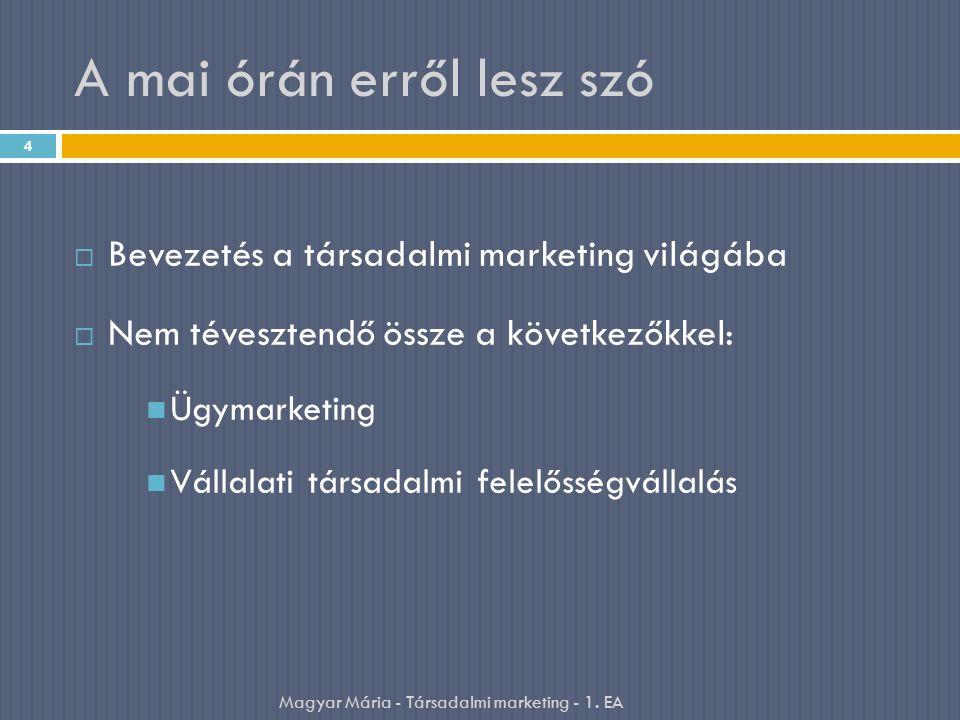 A mai órán erről lesz szó  Bevezetés a társadalmi marketing világába  Nem tévesztendő össze a következőkkel: Ügymarketing Vállalati társadalmi felelősségvállalás 4 Magyar Mária - Társadalmi marketing - 1.