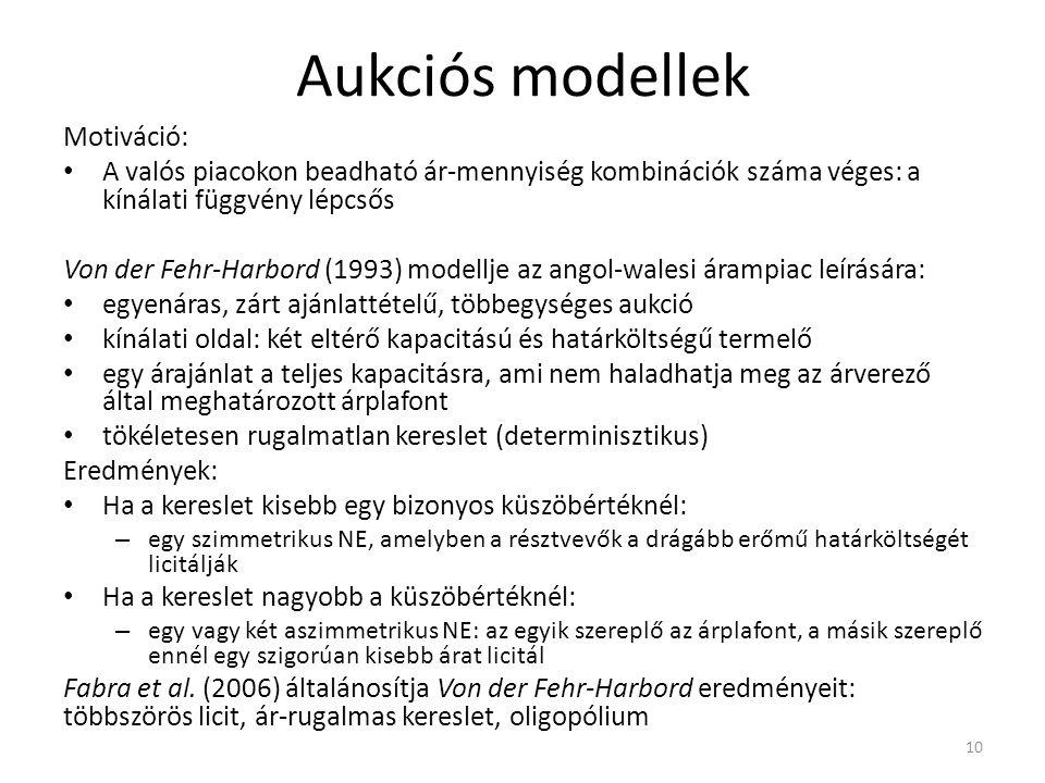 Aukciós modellek Motiváció: A valós piacokon beadható ár-mennyiség kombinációk száma véges: a kínálati függvény lépcsős Von der Fehr-Harbord (1993) modellje az angol-walesi árampiac leírására: egyenáras, zárt ajánlattételű, többegységes aukció kínálati oldal: két eltérő kapacitású és határköltségű termelő egy árajánlat a teljes kapacitásra, ami nem haladhatja meg az árverező által meghatározott árplafont tökéletesen rugalmatlan kereslet (determinisztikus) Eredmények: Ha a kereslet kisebb egy bizonyos küszöbértéknél: – egy szimmetrikus NE, amelyben a résztvevők a drágább erőmű határköltségét licitálják Ha a kereslet nagyobb a küszöbértéknél: – egy vagy két aszimmetrikus NE: az egyik szereplő az árplafont, a másik szereplő ennél egy szigorúan kisebb árat licitál Fabra et al.