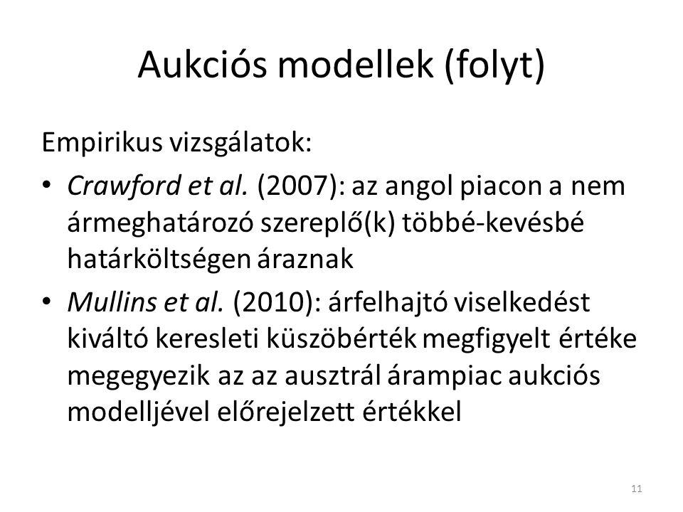 Aukciós modellek (folyt) Empirikus vizsgálatok: Crawford et al.