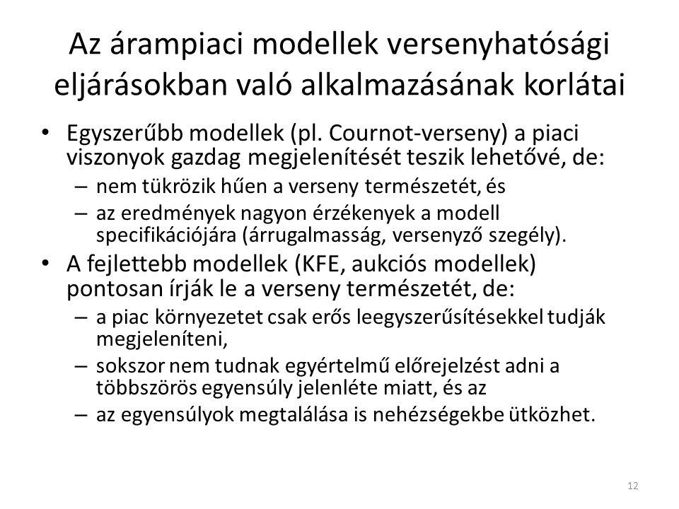 Az árampiaci modellek versenyhatósági eljárásokban való alkalmazásának korlátai Egyszerűbb modellek (pl.