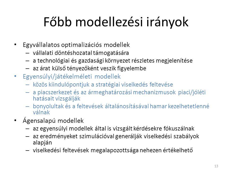 Főbb modellezési irányok Egyvállalatos optimalizációs modellek – vállalati döntéshozatal támogatására – a technológiai és gazdasági környezet részletes megjelenítése – az árat külső tényezőként veszik figyelembe Egyensúlyi/játékelméleti modellek – közös kiindulópontjuk a stratégiai viselkedés feltevése – a piacszerkezet és az ármeghatározási mechanizmusok piaci/jóléti hatásait vizsgálják – bonyolultak és a feltevések általánosításával hamar kezelhetetlenné válnak Ágensalapú modellek – az egyensúlyi modellek által is vizsgált kérdésekre fókuszálnak – az eredményeket szimulációval generálják viselkedési szabályok alapján – viselkedési feltevések megalapozottsága nehezen értékelhető 13