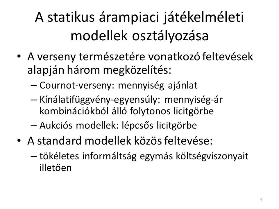 A statikus árampiaci játékelméleti modellek osztályozása A verseny természetére vonatkozó feltevések alapján három megközelítés: – Cournot-verseny: mennyiség ajánlat – Kínálatifüggvény-egyensúly: mennyiség-ár kombinációkból álló folytonos licitgörbe – Aukciós modellek: lépcsős licitgörbe A standard modellek közös feltevése: – tökéletes informáltság egymás költségviszonyait illetően 4