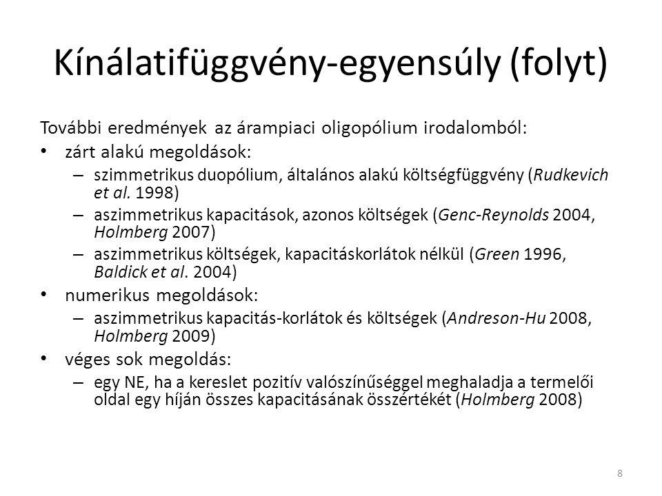 Kínálatifüggvény-egyensúly (folyt) További eredmények az árampiaci oligopólium irodalomból: zárt alakú megoldások: – szimmetrikus duopólium, általános alakú költségfüggvény (Rudkevich et al.