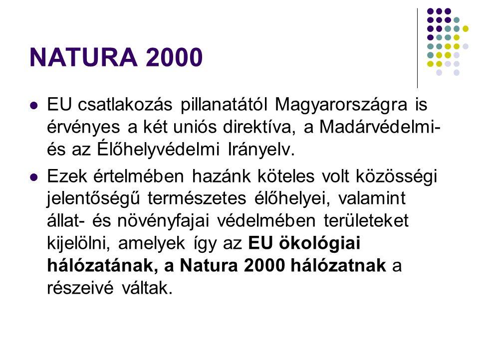 NATURA 2000 EU csatlakozás pillanatától Magyarországra is érvényes a két uniós direktíva, a Madárvédelmi- és az Élőhelyvédelmi Irányelv. Ezek értelméb
