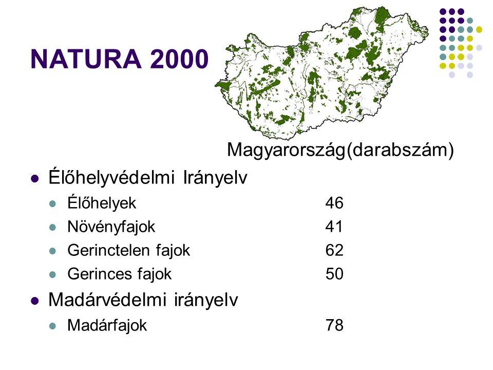 NATURA 2000 Magyarország(darabszám) Élőhelyvédelmi Irányelv Élőhelyek46 Növényfajok41 Gerinctelen fajok62 Gerinces fajok50 Madárvédelmi irányelv Madár