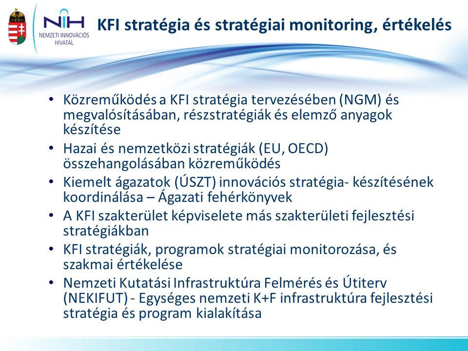 KFI stratégia és stratégiai monitoring, értékelés Közreműködés a KFI stratégia tervezésében (NGM) és megvalósításában, részstratégiák és elemző anyago