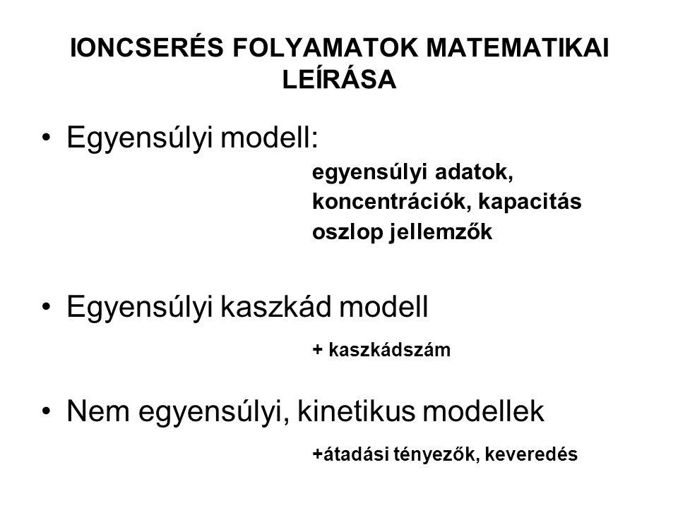 IONCSERÉS FOLYAMATOK MATEMATIKAI LEÍRÁSA Egyensúlyi modell: egyensúlyi adatok, koncentrációk, kapacitás oszlop jellemzők Egyensúlyi kaszkád modell + kaszkádszám Nem egyensúlyi, kinetikus modellek +átadási tényezők, keveredés