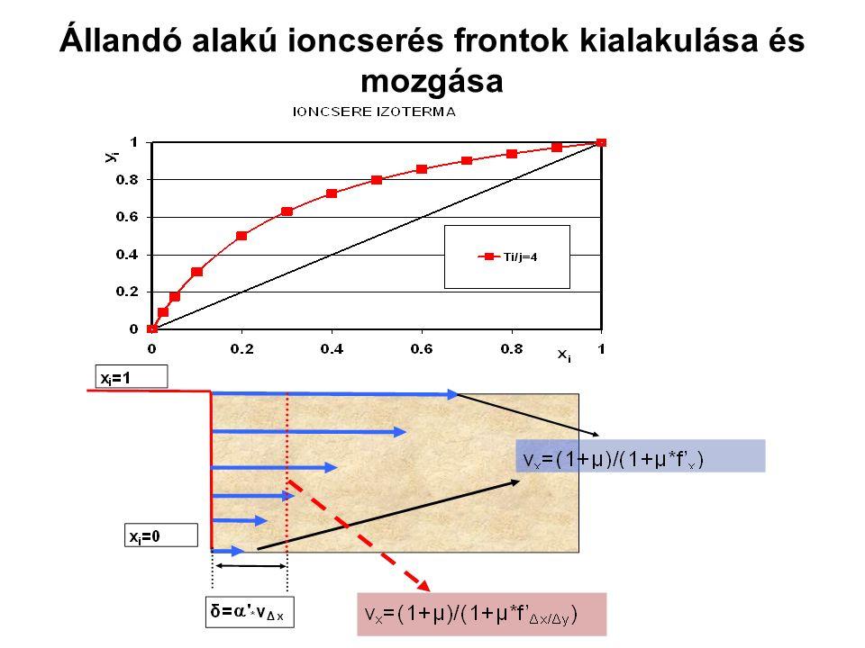 Állandó alakú ioncserés frontok kialakulása és mozgása
