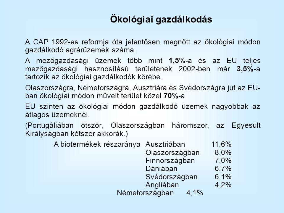 A CAP 1992-es reformja óta jelentősen megnőtt az ökológiai módon gazdálkodó agrárüzemek száma.
