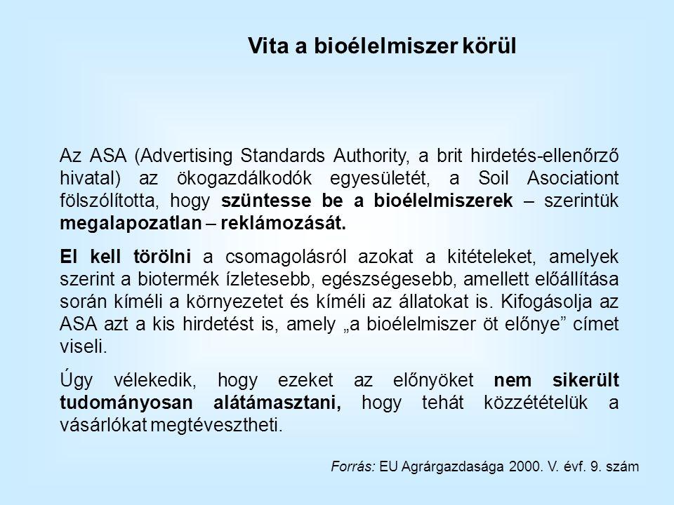 Az ASA (Advertising Standards Authority, a brit hirdetés-ellenőrző hivatal) az ökogazdálkodók egyesületét, a Soil Asociationt fölszólította, hogy szüntesse be a bioélelmiszerek – szerintük megalapozatlan – reklámozását.