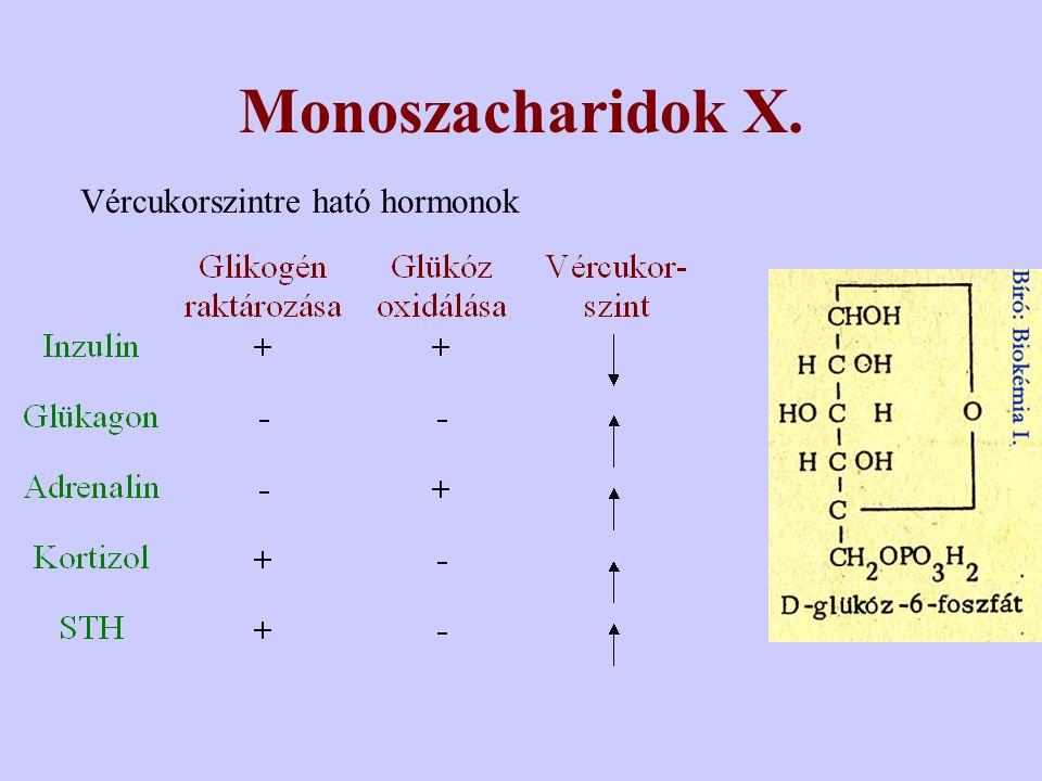 Monoszacharidok X. Vércukorszintre ható hormonok
