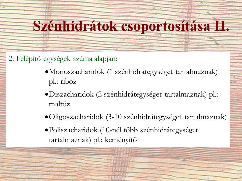 Szénhidrátok csoportosítása III.3.
